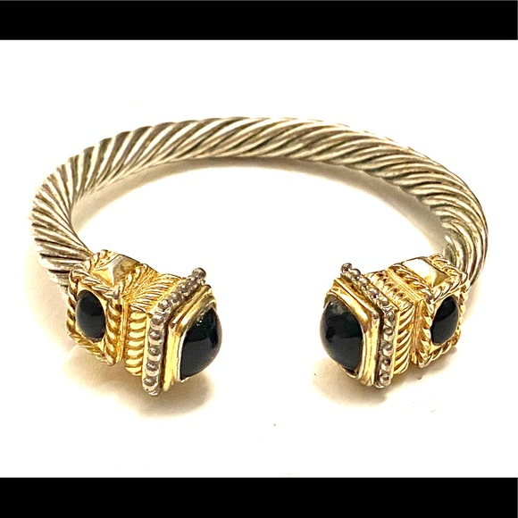 Vintage Jewelry - Vintage silver gold cuff cable bracelet